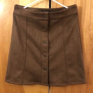 Brown suede fall button front skirt